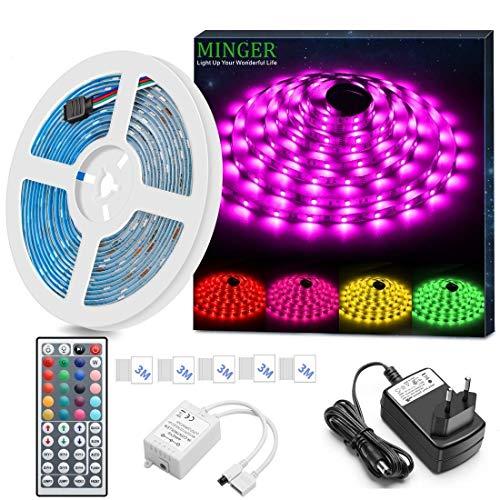 Minger wasserdichtes LED-Streifen-Kit 5M 5050 RGB SMD Mehrfarben-LED-Lichtleiste mit Infrarot-Fernbedienung 44 Tasten und 12 V Stromversorgung