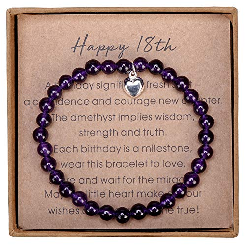 Gifts for 18 Year Old Girl Amethyst Bead Bracelet with Sterling Silver Heart Charm 18 Birthday Gifts for Girls with Card and Gift Box