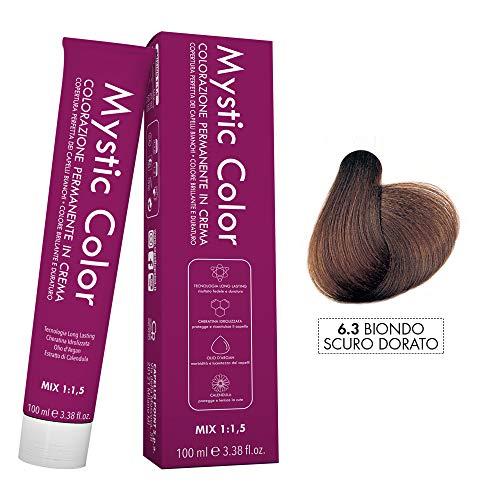Mystic Color - Crème Colorante Permanente à l'Huile d'Argan et au Calendula - Coloration Longue Durée - Couleur Blond Doré Foncé 6.3 - 100ml