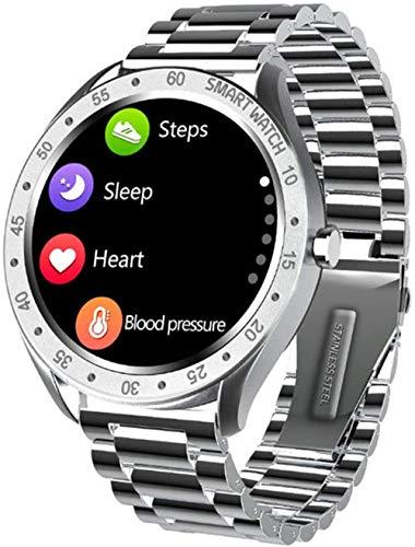 Circle Screen 1.3 Pulgadas Pulsera Deportiva Podómetro Reloj Inteligente Impermeable con Múltiples Modos Deportivos Adecuado para Android IOS Correa de Acero Negro Correa de Acero Plata
