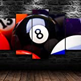 HJYT Cuadro Moderno En Lienzo,Piscina De Bolas De 8 Billares HD Abstracta Pared Modulares Sala De Estar Impresión Artística Dormitorios Decoración De Pared Enmarcado/150x80CM