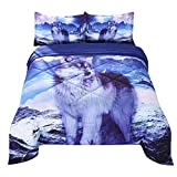 Wowelife White Wolf Comforter Sets Queen 5 Piece Wolf Bedding Set White Wolf Standing on Snow Mountain with Comforter, Flat Sheet, Fitted Sheet and 2 Pillow Cases(White Wolf, Queen)