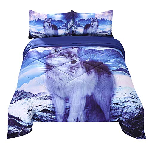 Wowelife White Wolf Comforter Sets Twin 5 Piece Wolf Bedding Set White Wolf Standing on Snow Mountainwith Comforter, Flat Sheet, Fitted Sheet and 2 Pillow Cases for Kids(White Wolf, Twin)