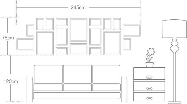 JXXDDQ Marcos de Madera clásicos Negros fijados para la decoración del Fondo de la Pared del sofá 18pcs Marcos Grandes de la Foto Marco artístico de los Cuadros Porta Retrato (Color :