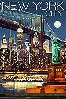 レトロニューヨーク-大人のための木製ジグソーパズル1000ピース、教育ゲーム脳チャレンジ大人の子供のためのジグソーパズル75X50Cm