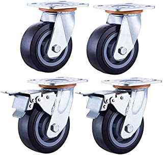 Transportwielen, industrieel, stil, 100 mm, 800 kg, harde schijfmeubels, wielen met 360 graden draaibaar, voor fabriekshot...