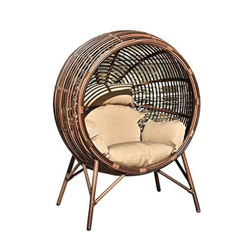 JYXJJKK Sedia sospesa Rattan Esterno Poltrona pensile, Garden Floor Tempo Libero Ferro battuto Rattan Chair Hanging Basket (Size : 105 * 88 * 125cm)