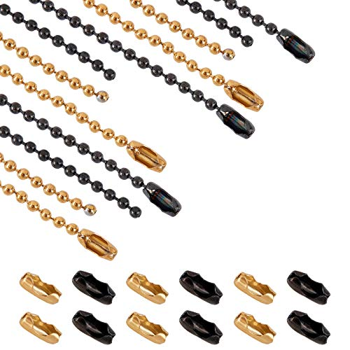 UNICRAFTALE Ca. 75cm 4 Stück Edelstahl Kugelketten Mit 20 Stück Stecker Verschlüsse Gunmetal Und Golden Perlenkette Herstellung Perlenkette Kette Für Männer Frauen Schmuckkette DIY Herstellung
