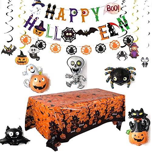 Anguxer 30 Pezzi, Kit di Decorazioni per Feste di Halloween Includono Striscioni di Halloween, Ciondoli a Spirale, Palloncino in Alluminio, Halloween Decorazioni Tavola per Esterno
