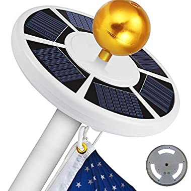 Blinngo 42 LED Solar Flag Pole Lights, IP65 Waterproof Flagpole Downlight Most 15 to 25 Ft Dusk to Dawn Auto On/Off Night Lighting (Flag Pole Light)