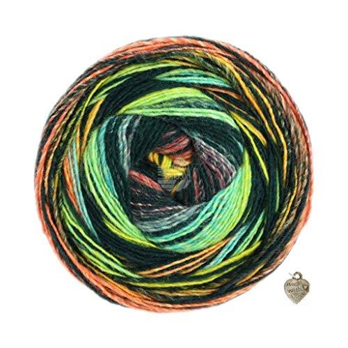 Lana Grossa Gomitolo Bene - Gomitolo di lana pettinata, 200 g, con gradiente di colore e cuore, turchese/nero/grigio/bacca/arancione/giallo miele
