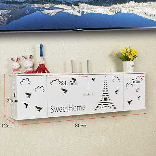 Routeur WiFi Set Top Box Etagère De Rangement Chambre Salon Etagère Murale Multifonctionnel Présentoir Étagère Flottante Socket Cordon D'alimentation Boîte De Rangement ( Couleur : E-80CM )