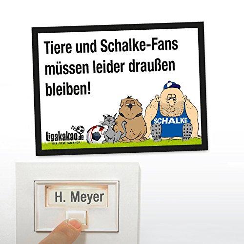 Klingel Abwehrschild vor Schalke-Fans | ACHTUNG BVB-, München- & alle Fußball-Fans, dieses witzige Haustürschild sorgt in eurem Reich für klare Verhältnisse und einfach mehr Spaß