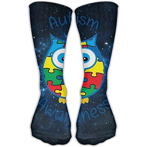 GHJL Herren Socken Autismus Awareness Eulen-Kleid, Lange Socken, kühle Länge
