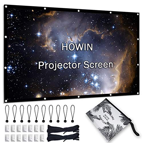 84 inch Projector Screen, 4k 16:9 Portable Indoor Projection Screen, HD Double Sided Office Bedroom Foldable Projection Movie Screen for Home Theater