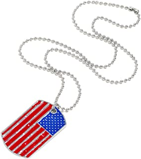 Fashion USA American Flag Necklace Patriot Hanging Pendant Popular Dog Tag Pendant Torque