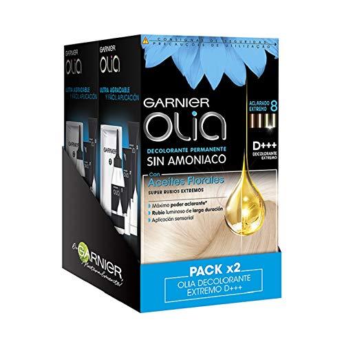 Garnier Olia, Decolorante permanente Sin Amoniaco Con Aceites Florales de Origen Natural, Aclara 8 Tonos, Decolorante Extremo D+++ Para Todo tipo de Cabello, Pack de 2 Unidades