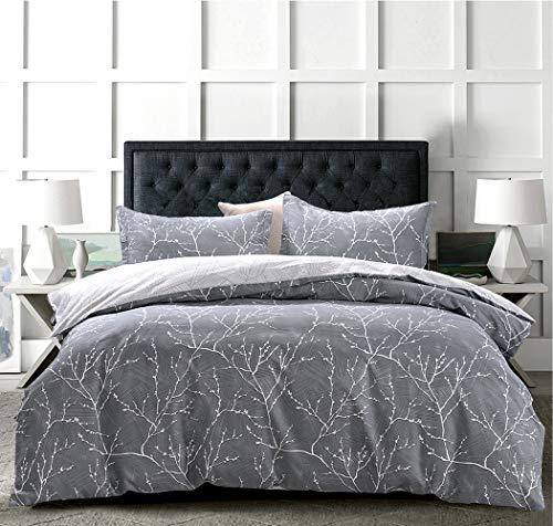 JOHNPEY Duvet Cover King - 100% Cotton Comforter Cover Set/Bedding Set(1 Grey Duvet Cover 104'x 90'+ 2 Pillow Shams 20' x 36')- Zipper Closure