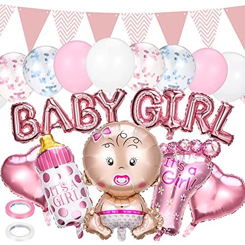 Decoración para fiesta de cumpleaños de niña, diseño de género Reveal, globos para bebé, pancarta de globo, botella de bebé, globos de helio, globos de confeti, banderines (rosa)
