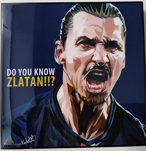 GLAGOODS Zlatan Ibrahimovic LA Galaxy Suecia PSG Manchester United Fútbol Pop Art Canvas Framed Wall Art Prints Póster Vinilo Regalo Citas