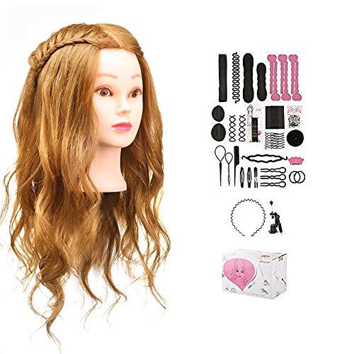 Mcwdoit Hairdressing Gold Synthetisches Haar Hairdressing Trainingskopf Praxis Hairdressing Trainingskopf mit Halterung und Haar-Styling