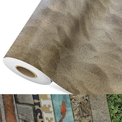 CV Bodenbelag Sand Beige - extra abriebfester PVC Bodenbelag (geschäumt) - Foto-Druck Sandstrand - Oberfläche strukturiert - Meterware (200x300 cm)