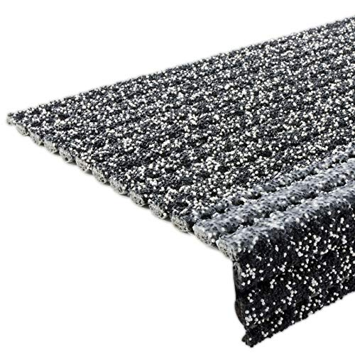 Floordirekt Stufenmatten - Sicherheitsstufenmatten für Außentreppen - grau-melliert, 25x73cm, mit Winkel