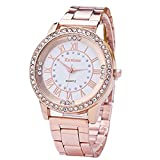 Womens Rhinestone Quartz Watches,Ladies Watches Sale Clearance Waterproof Fashionable High Hardness Glass Mirror Men and Women General Mesh Belt Watch ('Rose Gold)