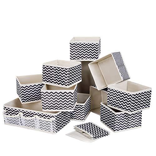 DIMJ 12 Stück Aufbewahrungsbox, Schublade Organizer für Socken, Unterwäsche, Faltbar Aufbewahrungskisten aus Stoff für Schrank, Tische, Schubladen Ordnungssystem (Beige)