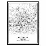 Innsbruck Österreich Karte Wandkunst Leinwand drucken