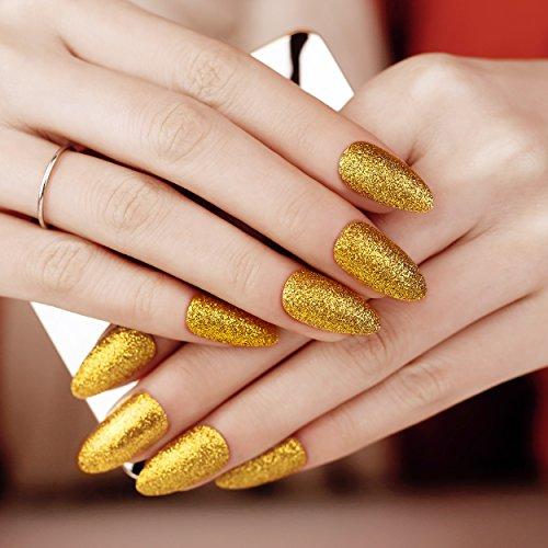 ArtPlus Künstliche Nägel 24pcs Gold Glitter False Nails with Glue Full Cover Stilleto Fake Nails Art