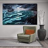 KWzEQ Imprimir en Lienzo Decoración de la Pared del Paisaje del océano del Barco para la Sala de Estar Imagen de Arte de la Pared Carteles de inicio50x75cmPintura sin Marco