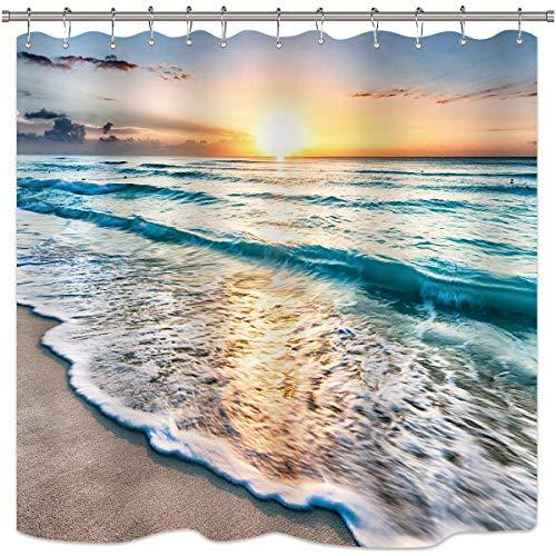 Riyidecor Ocean Coastal Hawaiian Sunrise Shower Curtain Sea Wave Summer Beach Seaside Scene Island Blue Fabric Set Waterproof 72x72 Inch 12 Pack Plastic Hooks
