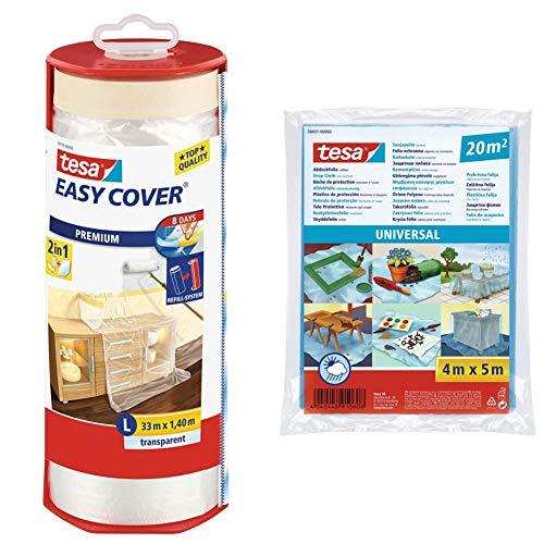 tesa 59179-00003-02 Cinta + plástico protector premium, 33 m x 1400 mm, transparente, not_applicable, No aplica + Plástico de cubrición para grandes zonas (20 m²)