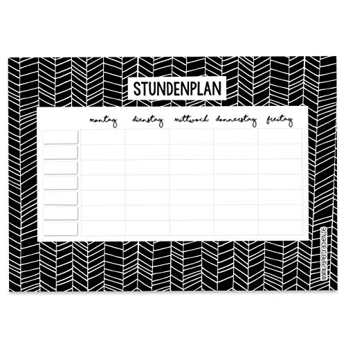 Papierdrachen Stundenplan DIN A4 Block - Motiv schwarz-weiß - beschreibbar Schule oder Uni - Terminkalender und Wochenplan für Jugendliche und Erwachsene