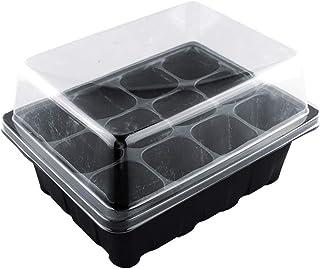 Laduup – Mini Invernadero con 12 Compartimentos, Invernadero para Habitaciones, Cultivo, Mini Invernadero, macetero con Cubierta de ventilación, Negro