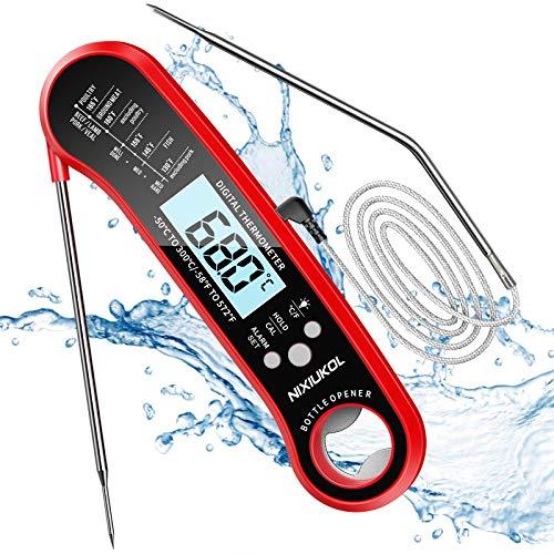 Fleischthermometer 2 in 1 Digital Bratenthermometer IP67 Wasserdicht, Grillthermometer mit 2...