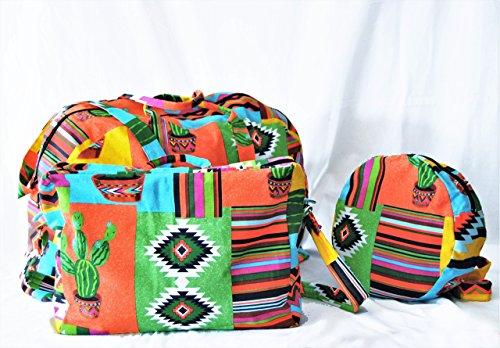 Pack tres piezas bolsos estampado mexicano