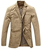chouyatou Men's Casual Three-Button Stripe Lined Cotton Twill Suit Jacket (X-Large, Khaki)