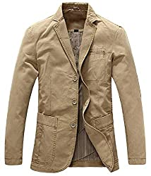 top 10 travel sports coat Chouyatou Men's Leisure Blazer in Cotton Twill with 3 Buttons (X-Large, Khaki)