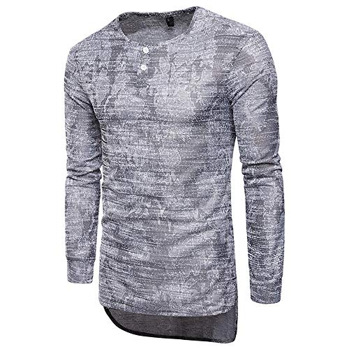 Herren Pullover Langarm Sweatshirts Baumwolle Curve Hem Slim-Fit Casual Sporthemden...