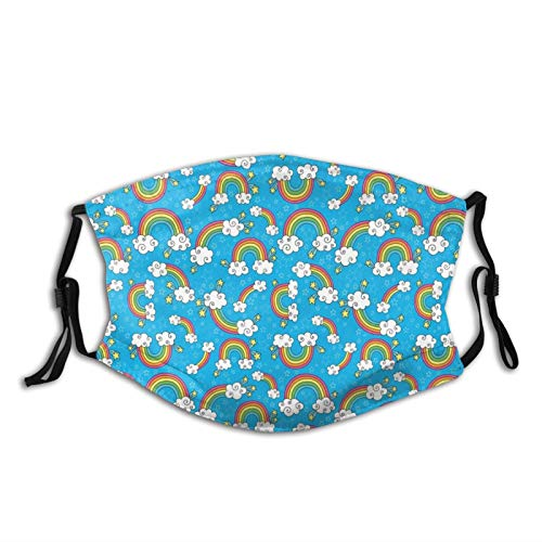 Fashion 2 Layers Washable Protcetion cover Reusable Mask,Sky With Star Burst Magical Rainbows And Puffy Clouds Groovy Doodles Of Hippie Art,Printed Facial Decorations for Women and Men|with Filter