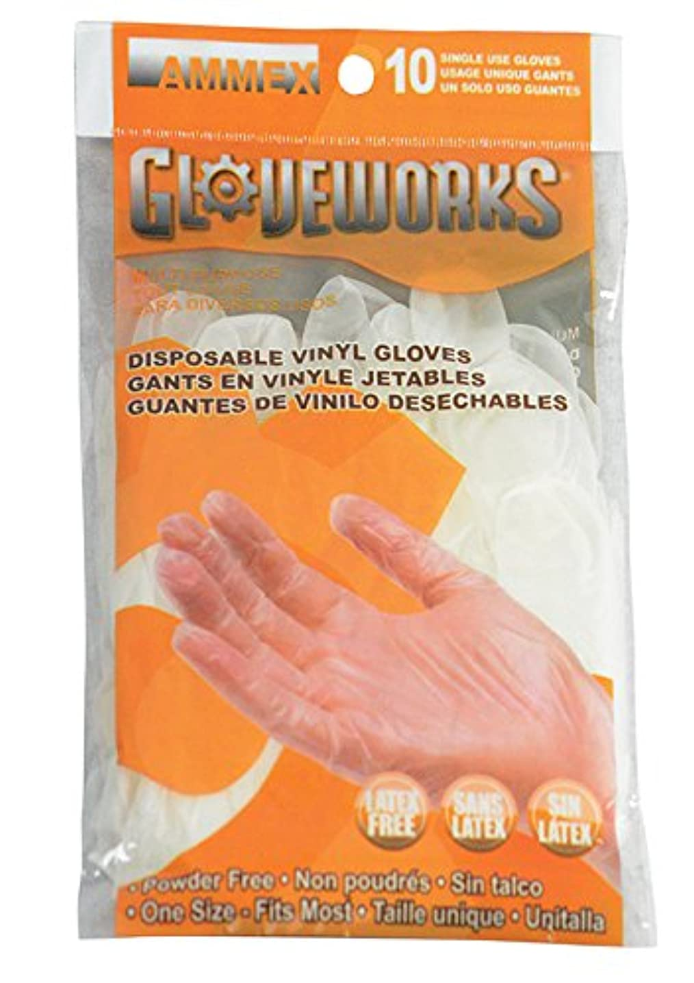 AMMEX - GWV10PK - Vinyl Gloves - Gloveworks - 10/pack, Disposable, Powder Free, 4 mil, Uni-size, Clear  (Case of 250)