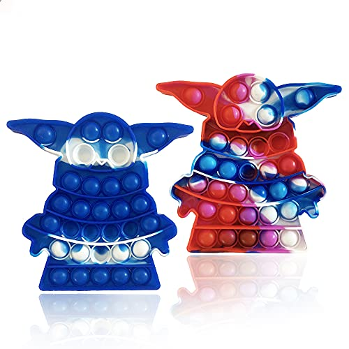 2pc Yoda Simple dimple Tie-dye Toys, PushBubble Fidget Toy Bubble Squeeze Sensory Silicone Toy Stress Relief and Anti-Anxiety Tools for Kids Adult
