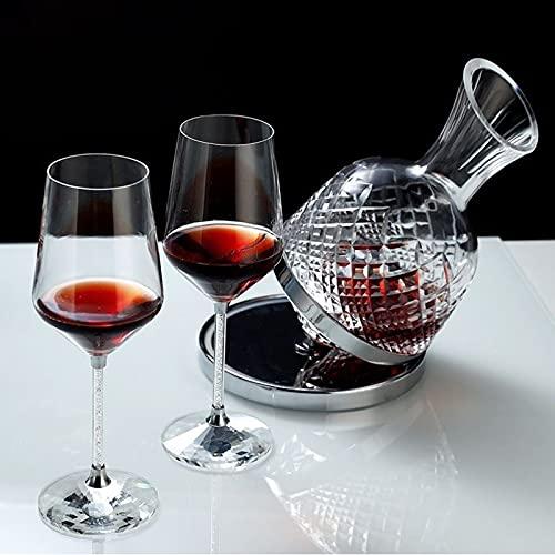 Decantador de vino tinto, decantador de cristal sin plomo hecho a mano, vino tinto, vino blanco y decantador giratorio de cristal de vino especial (cristal) (Color : Clear)