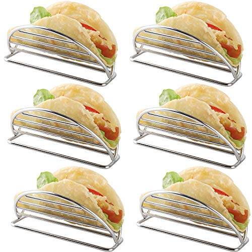 Taco Holder Stand Stainless Steel Taco Rack Tray Stand Up Holders Kitchen Set for Tortillas, Burritos, Parties & Restaurants (Taco Holders)