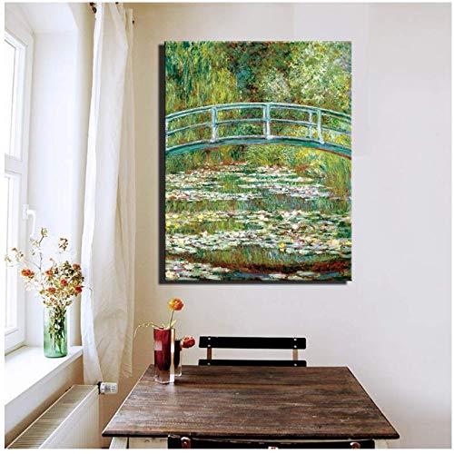 ASLKUYT SeerosenteichGemälde Druck Auf Leinwand Für Wohnzimmer Wand Dekorative Bilder Gemälde -60x80 cm Kein Rahmen