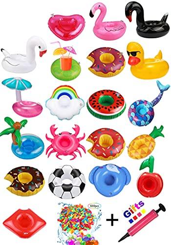 Hook 18 Stück Getränkehalter Pool Aufblasbar Schwimmend, Bierhalter Pool Gadgets Flamingo Palme Luftmatratze Spielzeug Wasserspielzeug mit Luftpumpe und 100pcs Wasserbomben