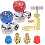 JIFETOR AC R134A Adjustable Quick Coupler Adapter and Refrigerant Can Tap Valve Tool Kit, Auto HVAC High Low Connectors with 1/4' Male Flare, Freon Bottle Opener Dispenser with Tank Adapter