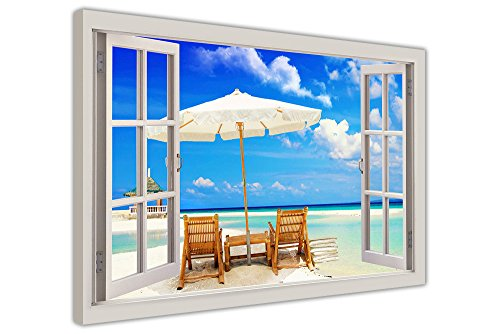 BEACH HOLIDAY 3D WINDOW EFFECT CANVAS PICTURES HOME DECO WALL ART PRINTS SIZE: A3-16' X 12' (40CM X 30CM)